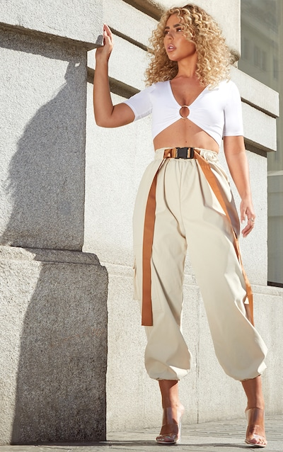 136e93c3e Petite Stone Contrast Belt Detail Cargo Trousers PrettyLittleThing Sticker