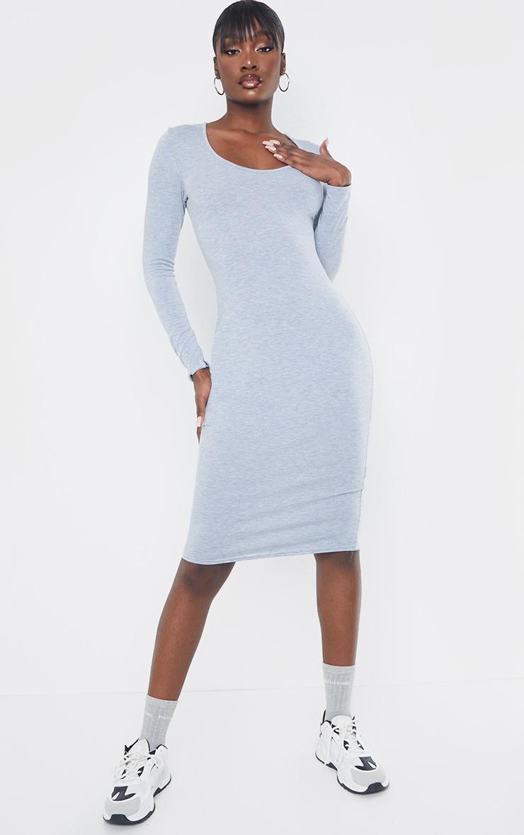 Tall Grey Long Sleeve Midi Dress 1