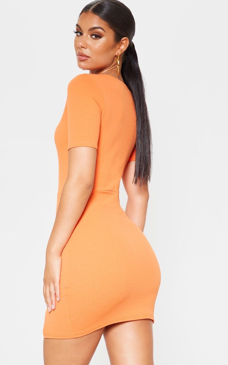 Orange Split Detail Short Sleeve Bodycon Dress 2