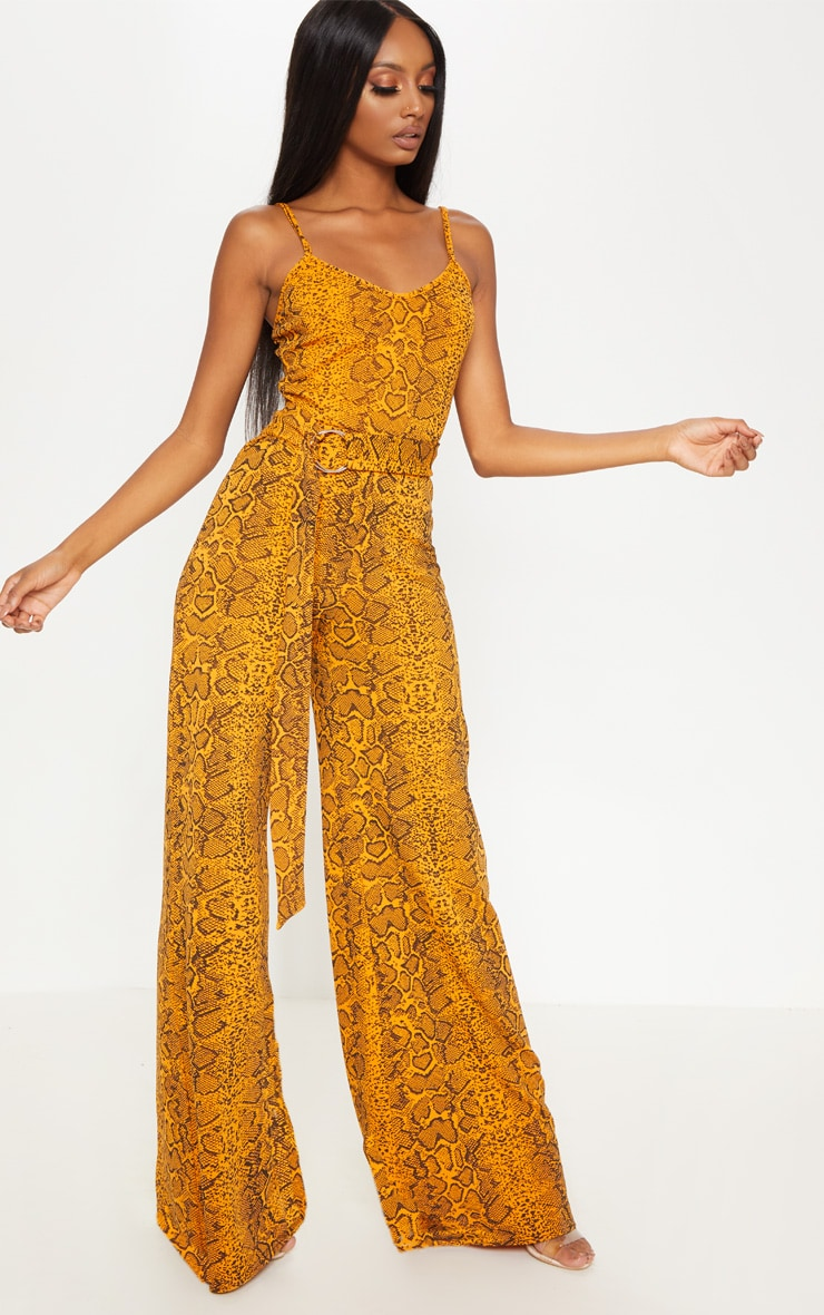 Mustard Snake Print O-Ring Belt Jumpsuit 4