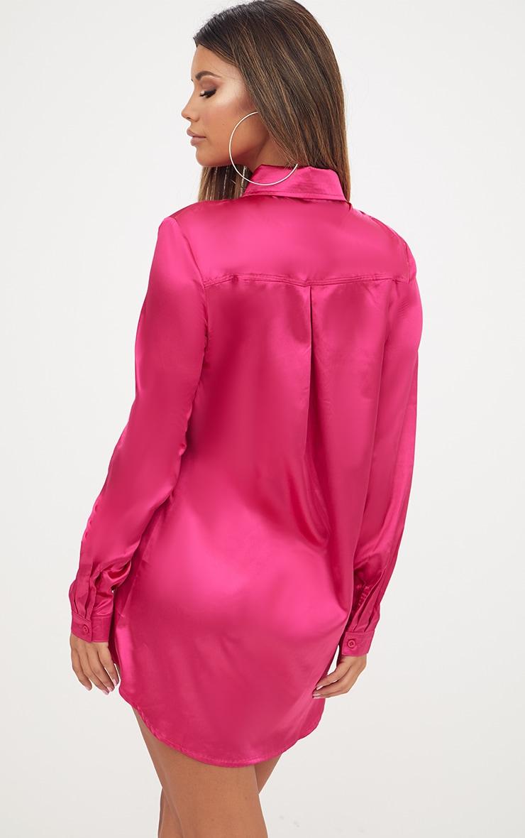 Fuchsia Satin Button Front Shirt Dress 2