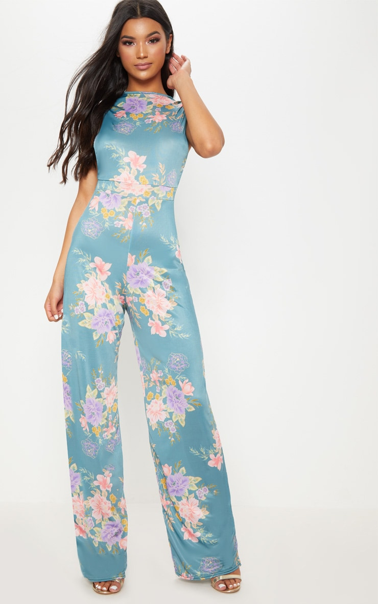 teal-slinky-teal-floral-side-boob-jumpsuit by prettylittlething