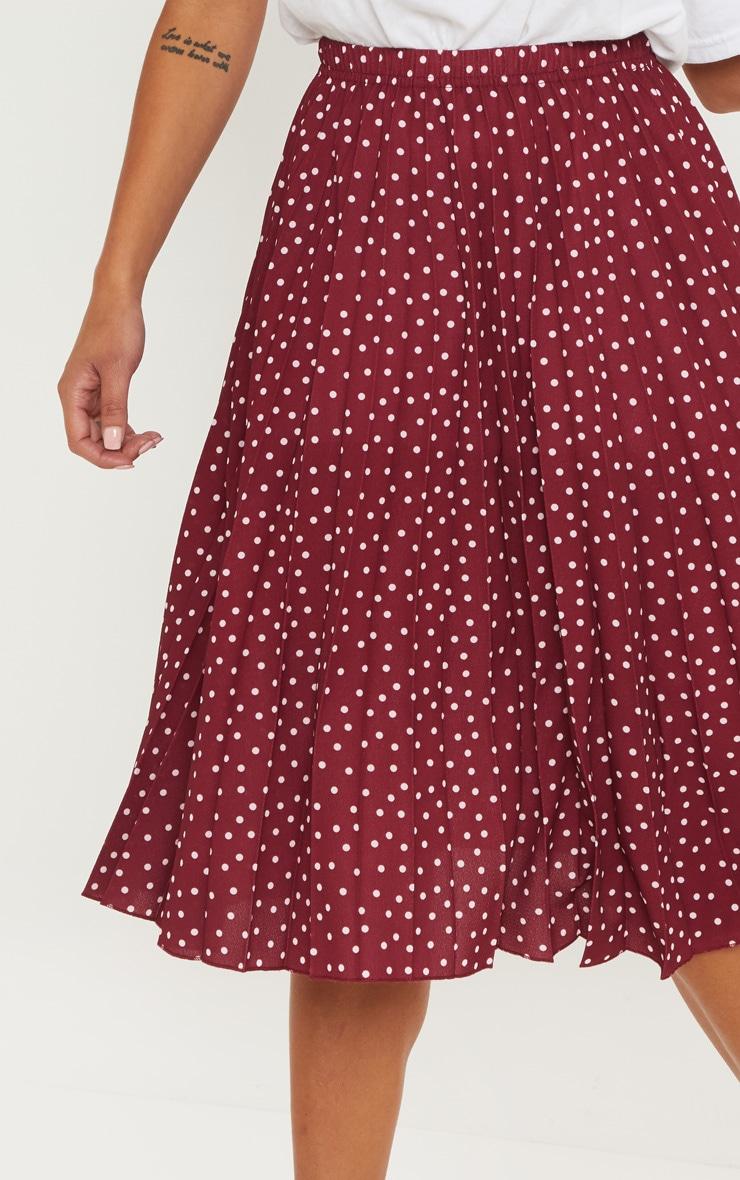 Petite Burgundy Polka Dot Pleated Midi Skirt 5