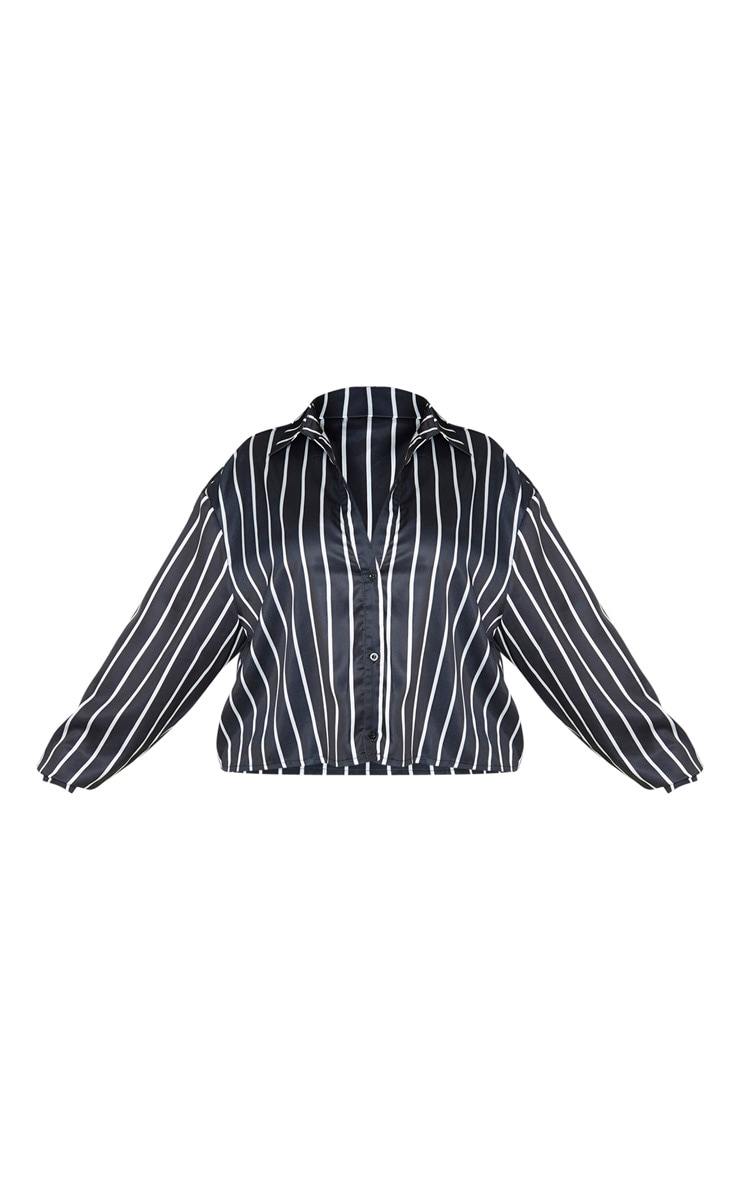 Plus Black Satin Stripe Crop Shirt 3