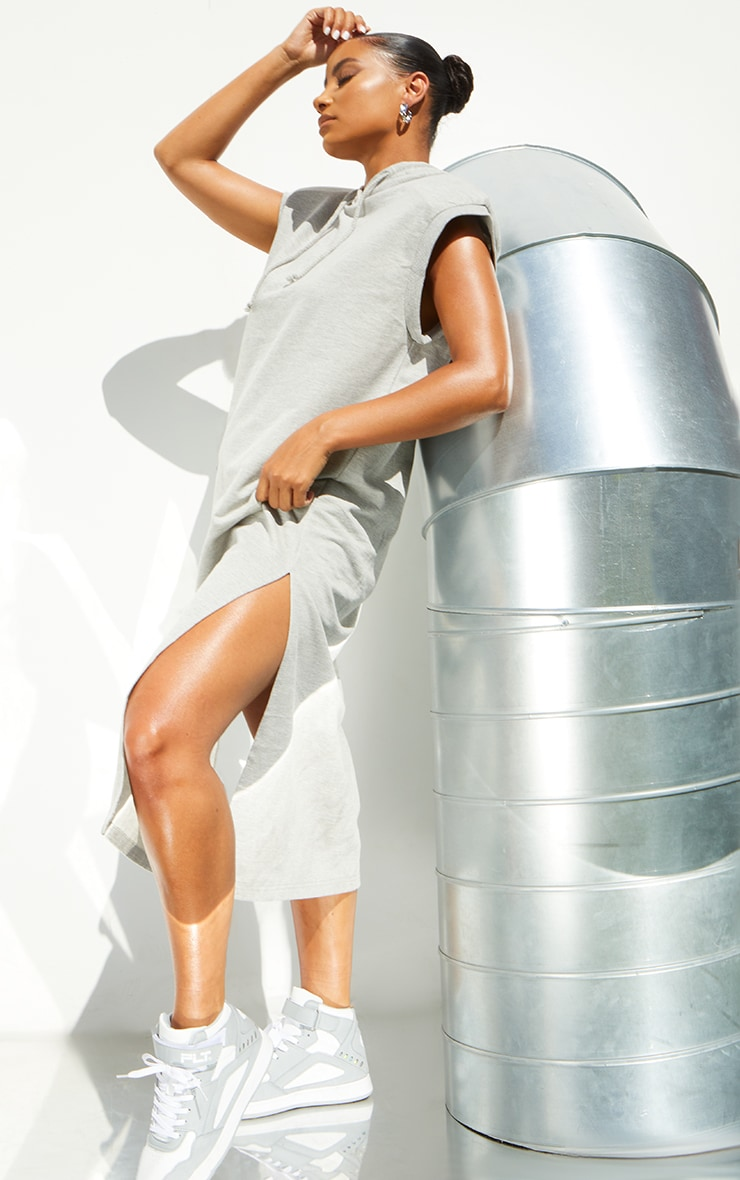 Grey Marl Shoulder Pad Sleeveless Hooded Sweat Jumper Dress 1