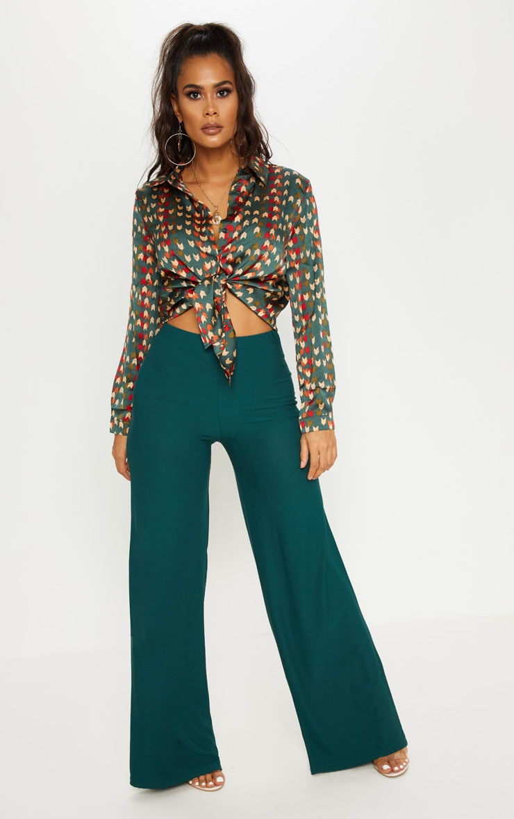 Emerald Green High Waisted Wide Leg Trouser