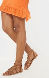 Tan Knot Strappy Leather Sandal 2