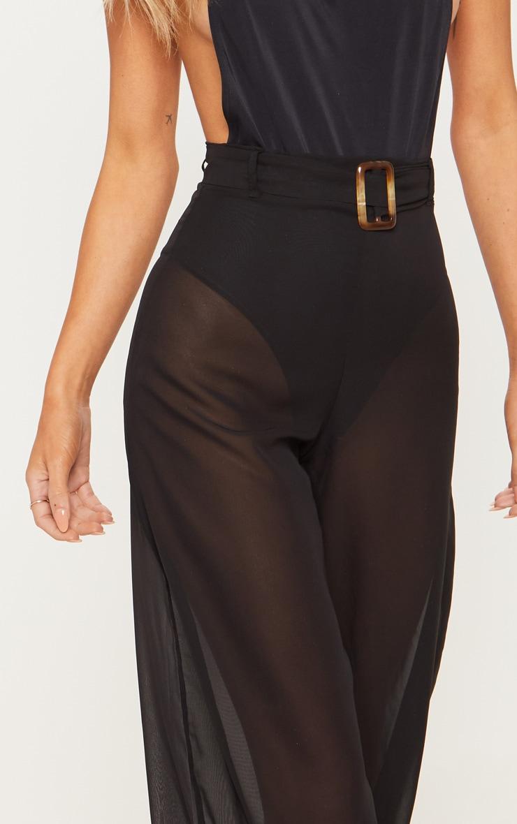 Black Chiffon Tortoise Belt Beach Trouser 6