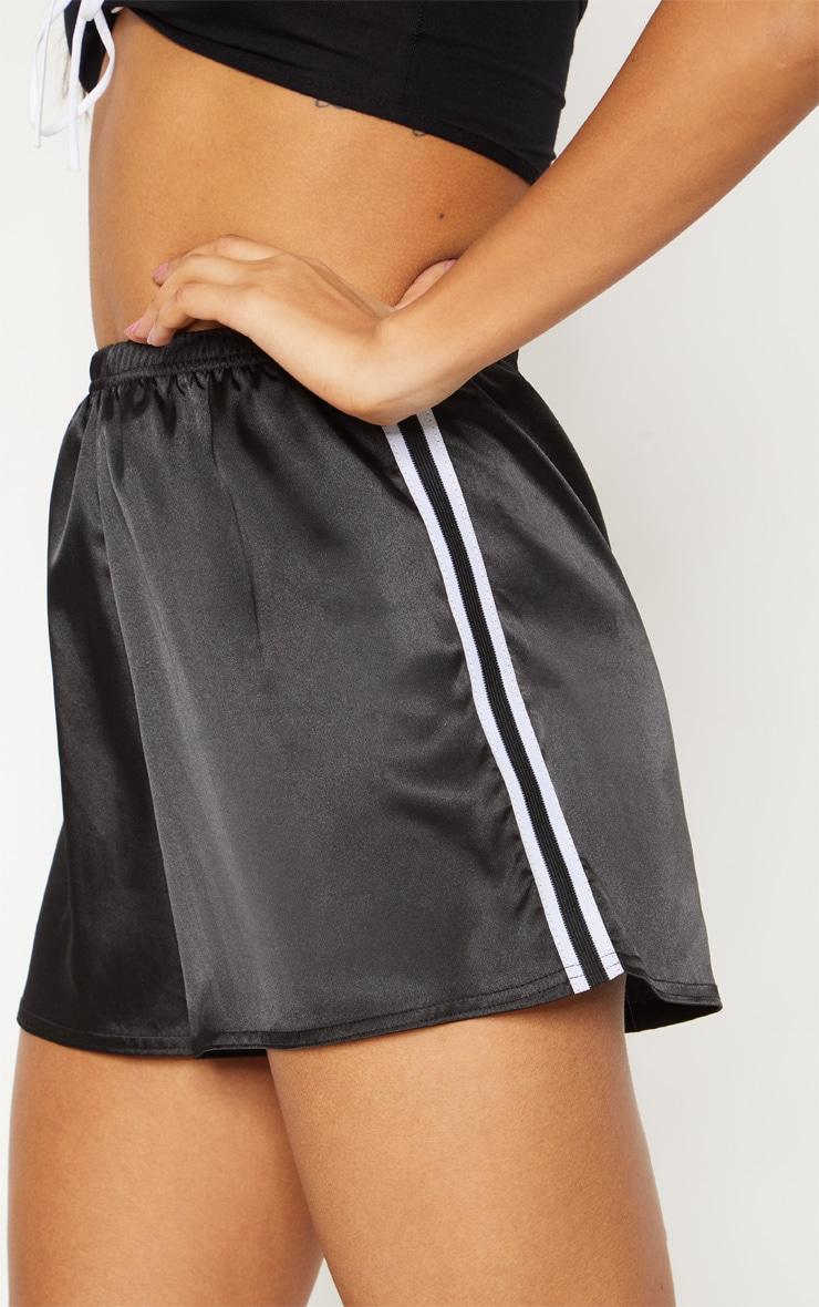 Black Satin Side Stripe Short 6