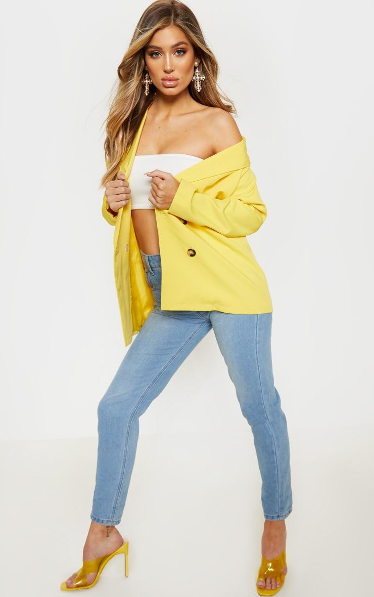 Yellow Oversized Button Detail Woven Blazer  4