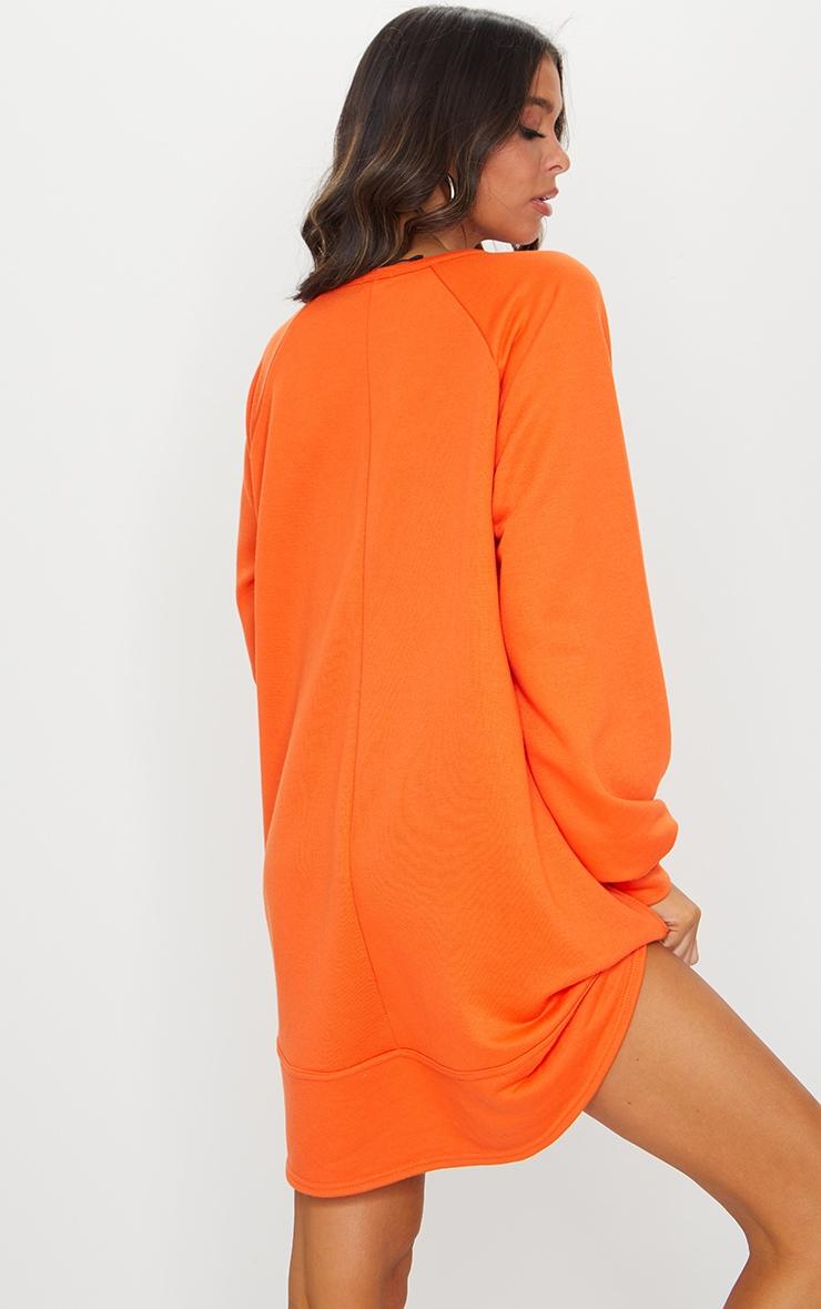 Bright Orange Oversized Sweat Jumper Dress 2