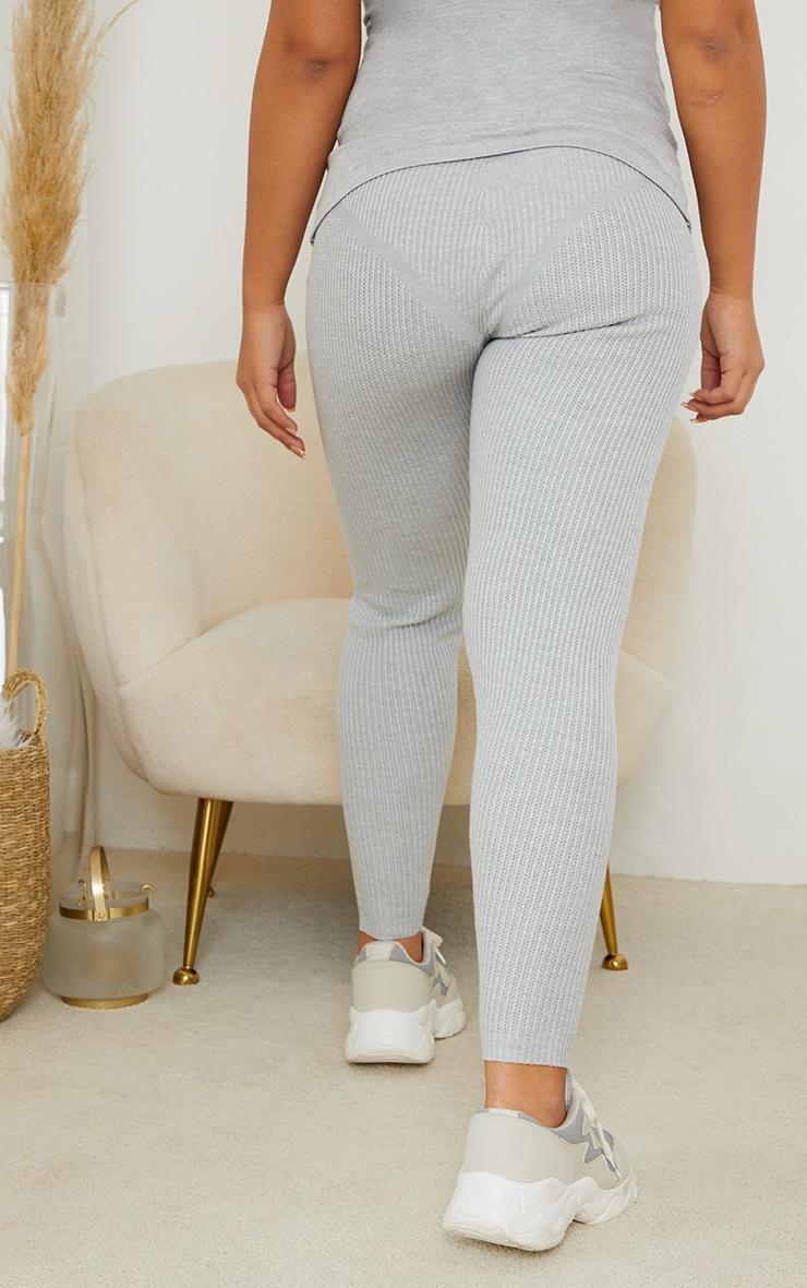 Maternity Grey Bump Shaping Knitted Wide Rib Leggings 3