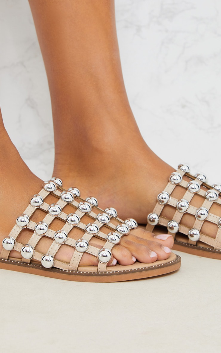 Alisa Nude Large Studded Sliders 6