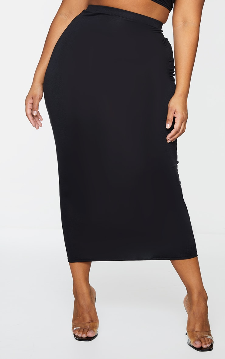 Plus 2 Pack Basic Black & Grey Jersey Midaxi Skirt 2
