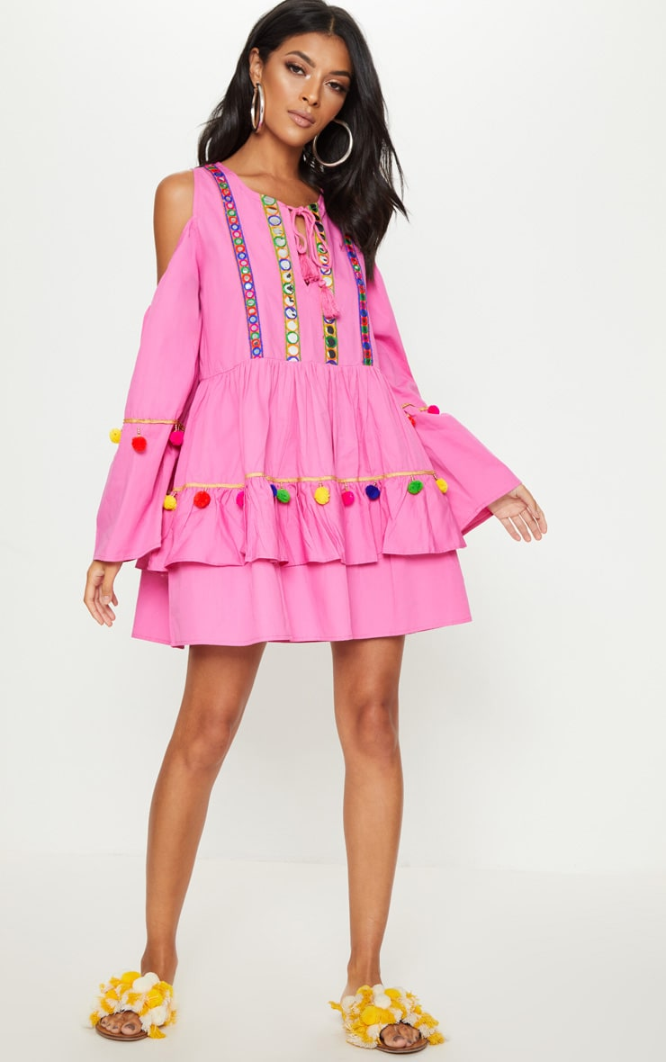Pink Pink Pom Pom Mirror Trim Shift Dress 4