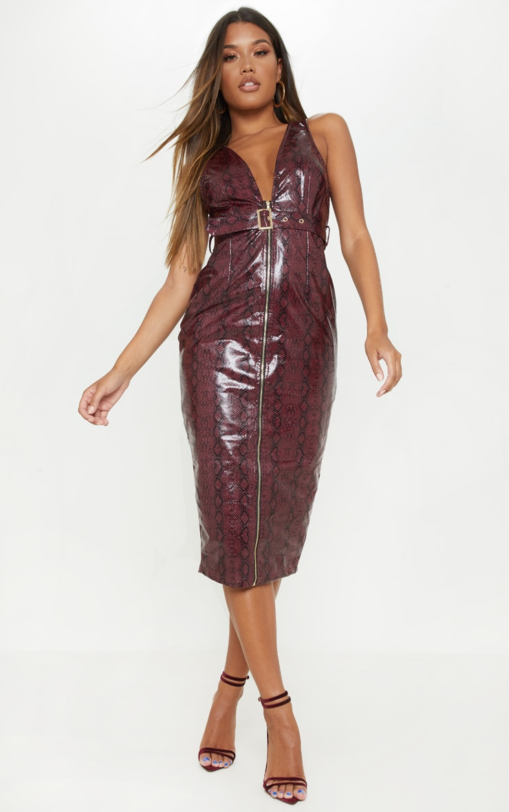 Burgundy Patent Snake Faux Leather Plunge Midi Dress 4