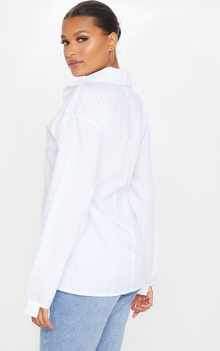 White Cotton Oversized Shirt  2