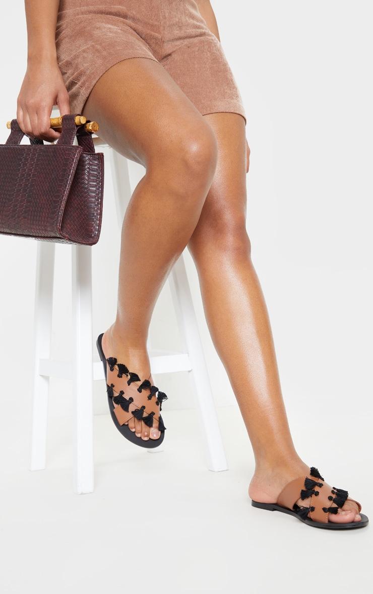Tan Cross Strap Tassle Mule Sandal 2