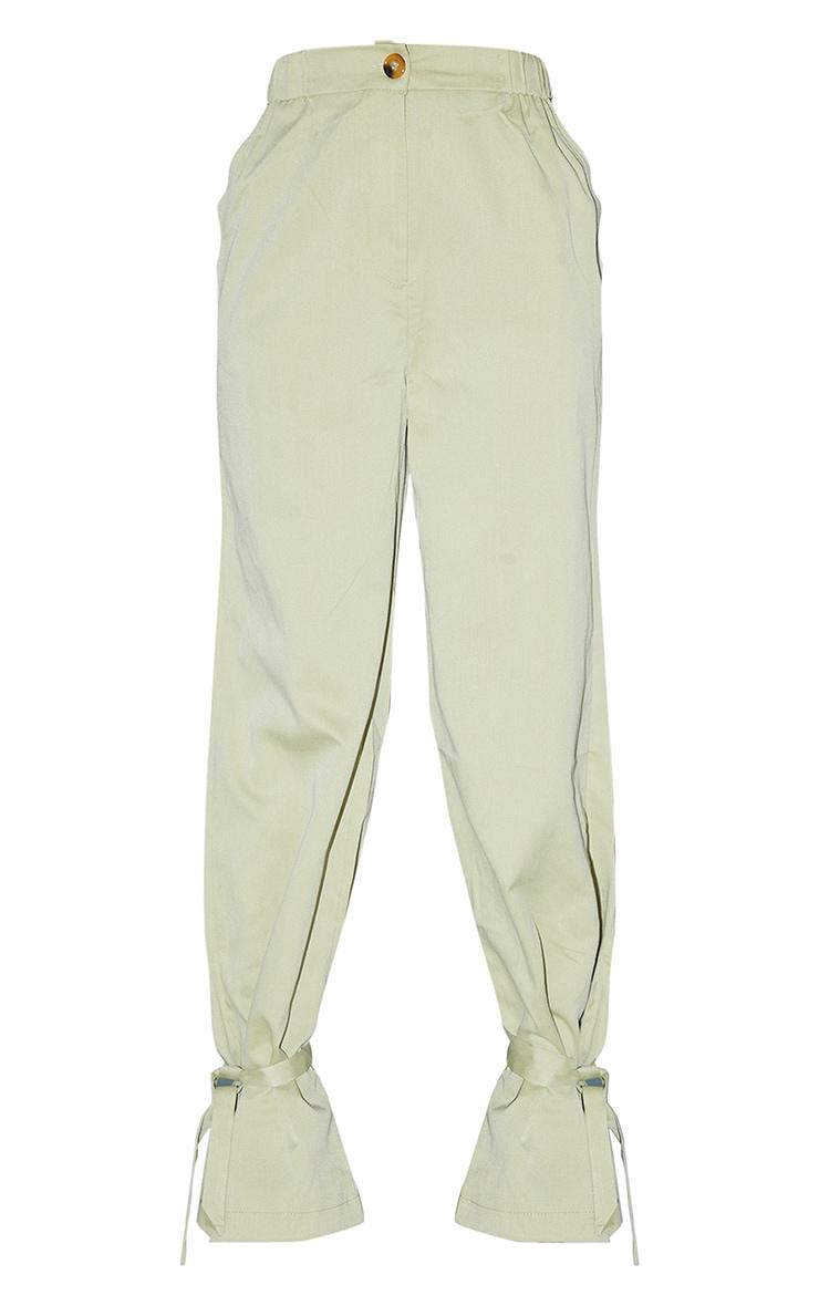 Pale Olive Tailored Elasticated Waist Tie Hem Trousers 5