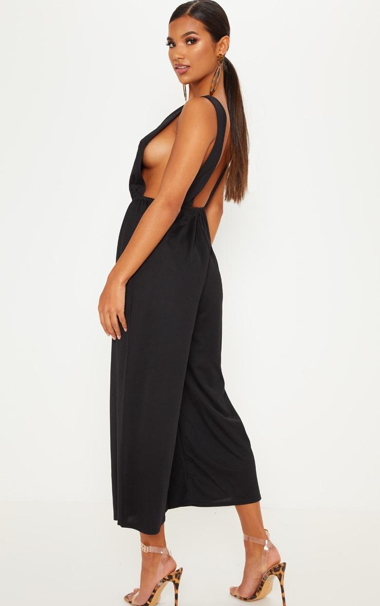 Black V Strap Culotte Jumpsuit 2