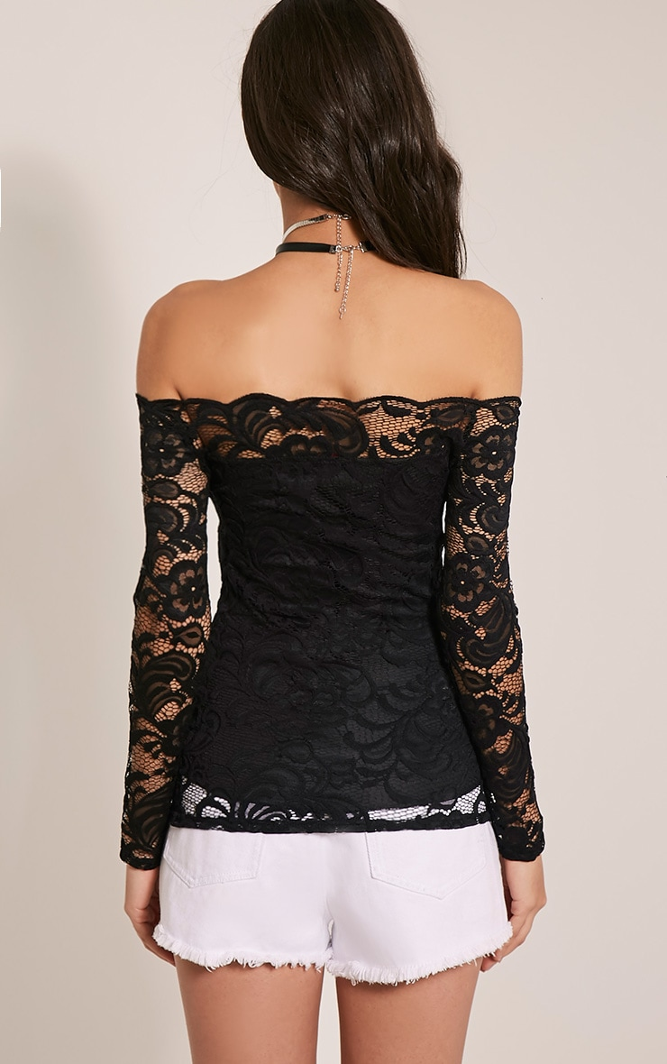 Kezia Black Lace Bardot Long Sleeve Top 2