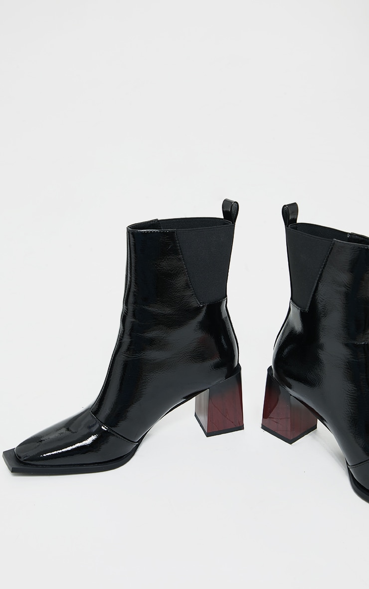 Black Zip Detail Patent Ombre Ankle Heeled Boots 3
