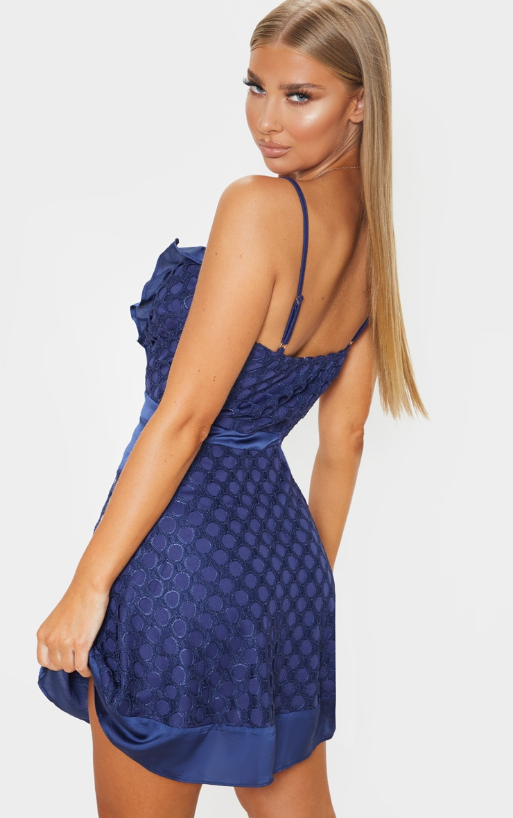 Navy Lace Strappy Skater Dress 2