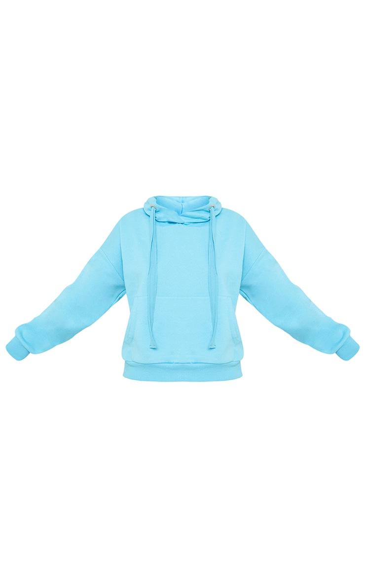 Bright Blue Oversized Drop Shoulder Pocket Front Hoodie 5
