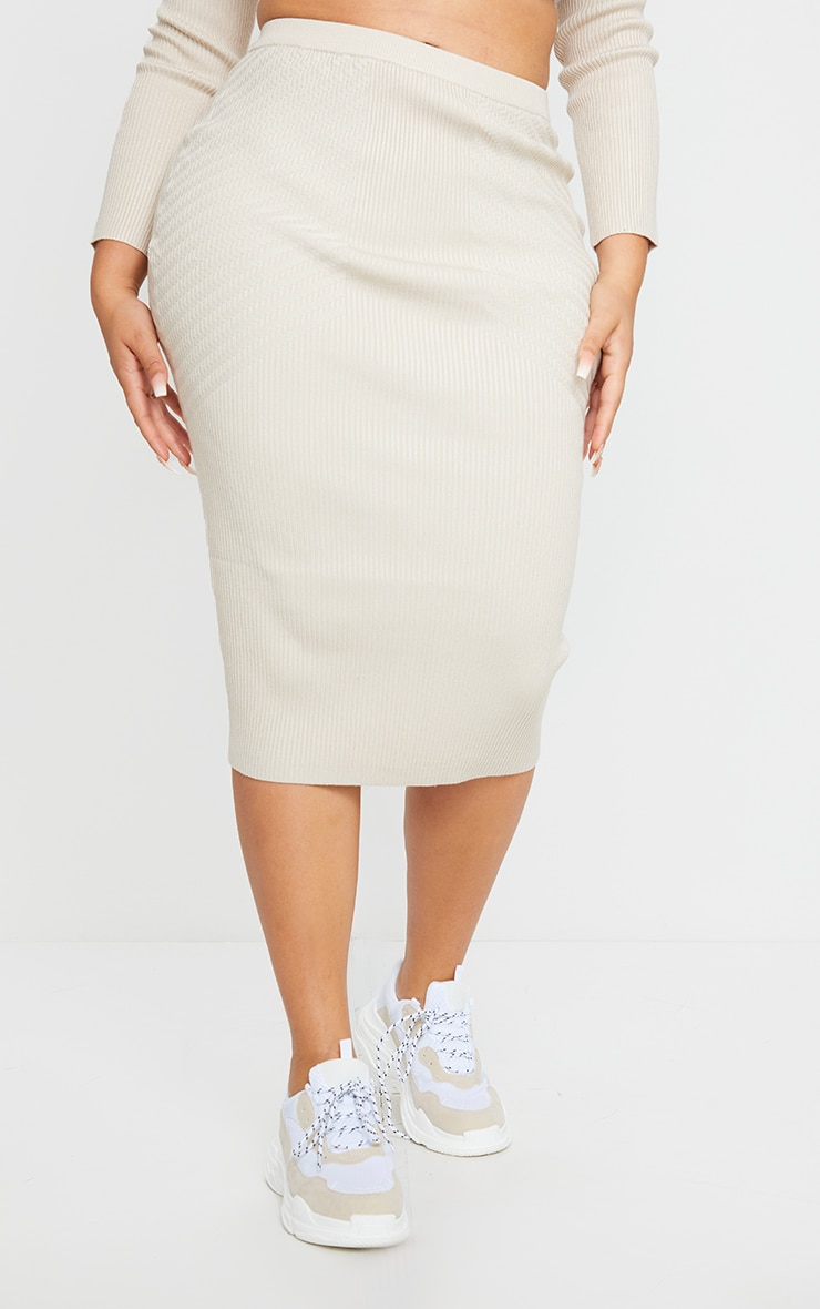 Plus Stone Knit Midi Skirt 2