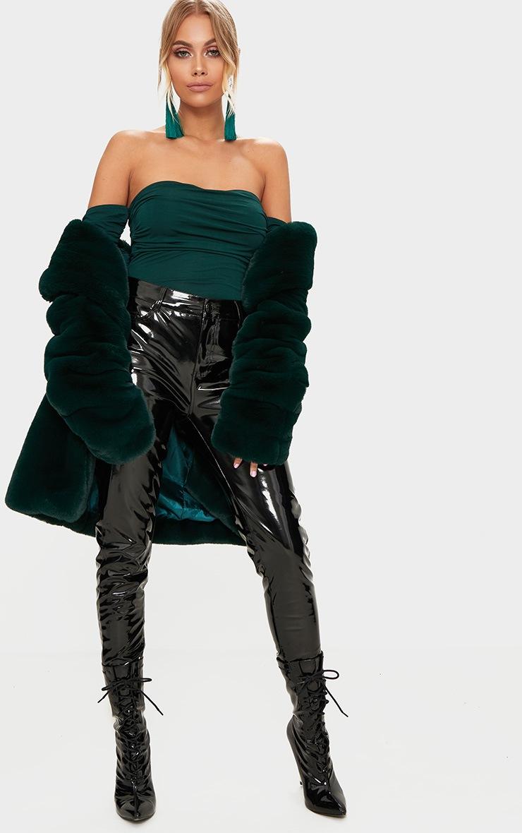 Emerald Green Bardot Ruched Sleeve Thong Bodysuit 5