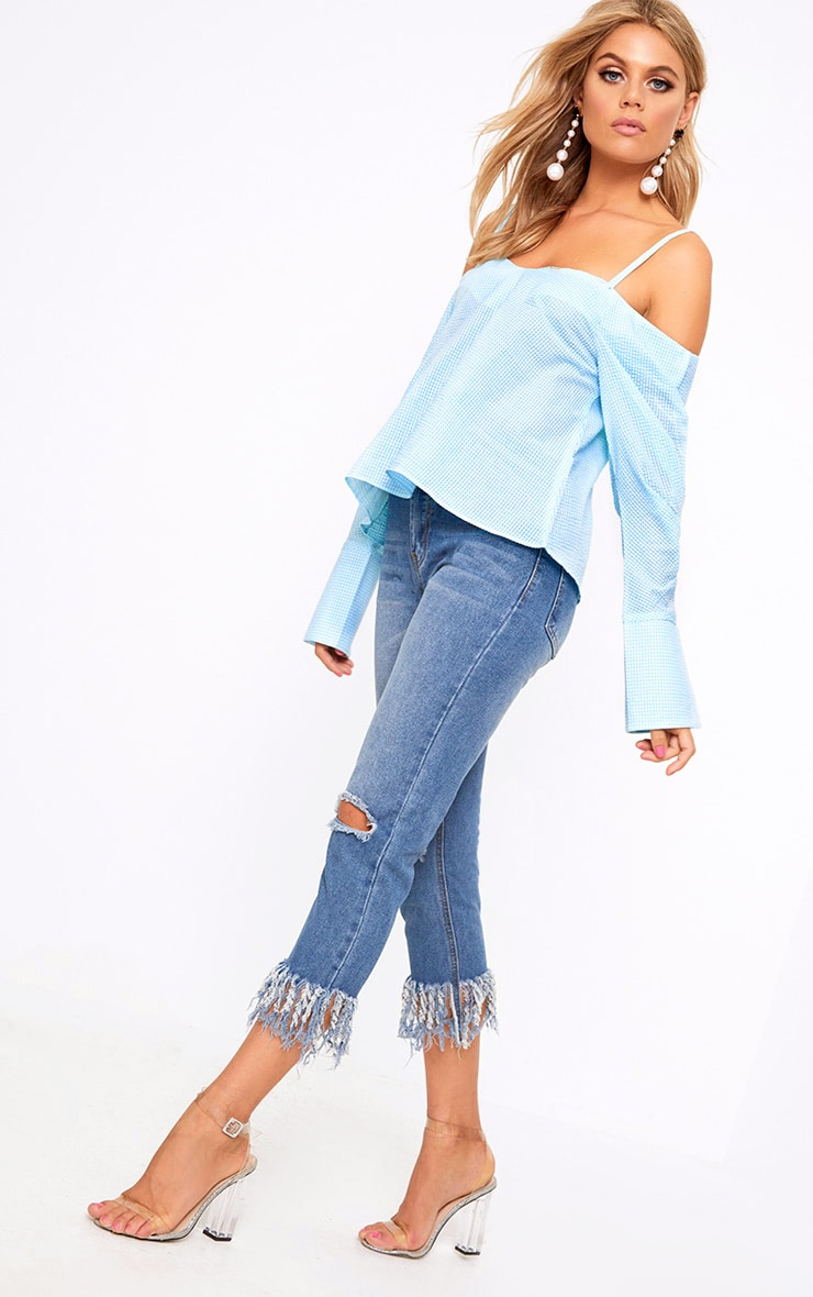 Mint Gingham Check Cold Shoulder Cuff Shirt 4
