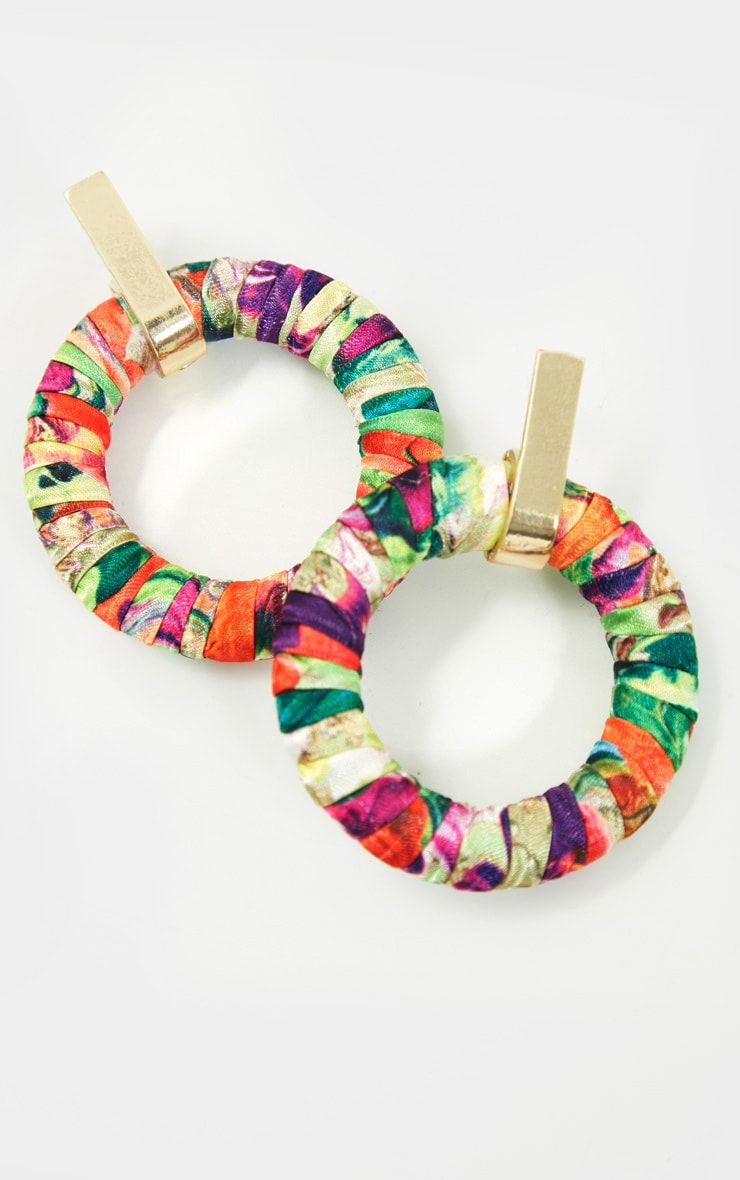 Multi Floral Door Knocker Earrings 3