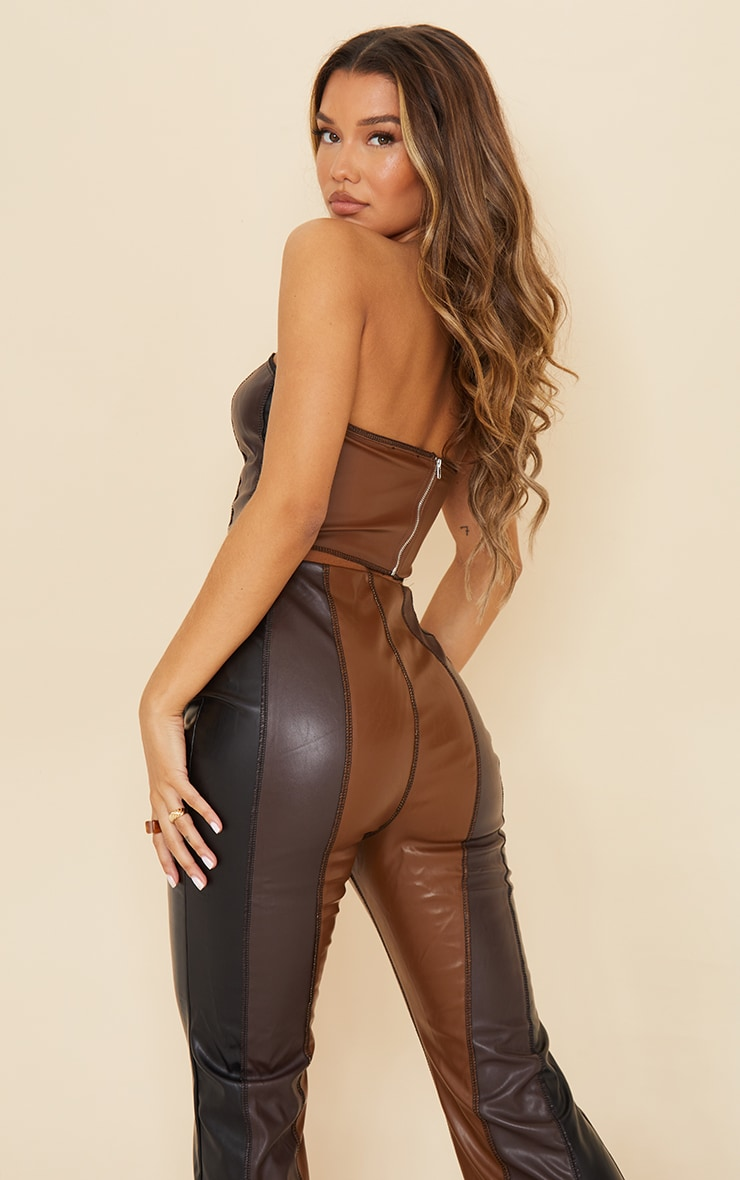 Chocolate Brown Faux Leather Panelled Bandeau Top 2