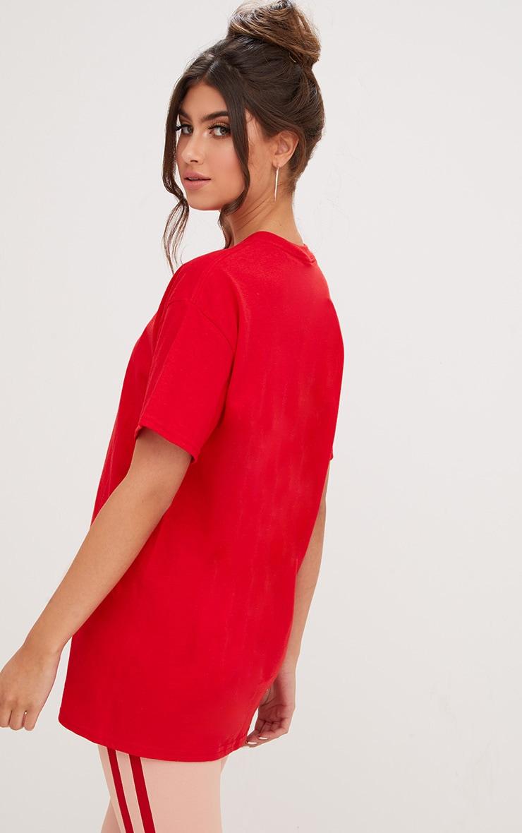 PRETTYLITTLETHING Red Slogan Oversized T Shirt  2