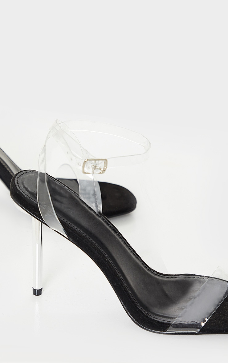 Black Metal Pin Heel Clear Sandal 4