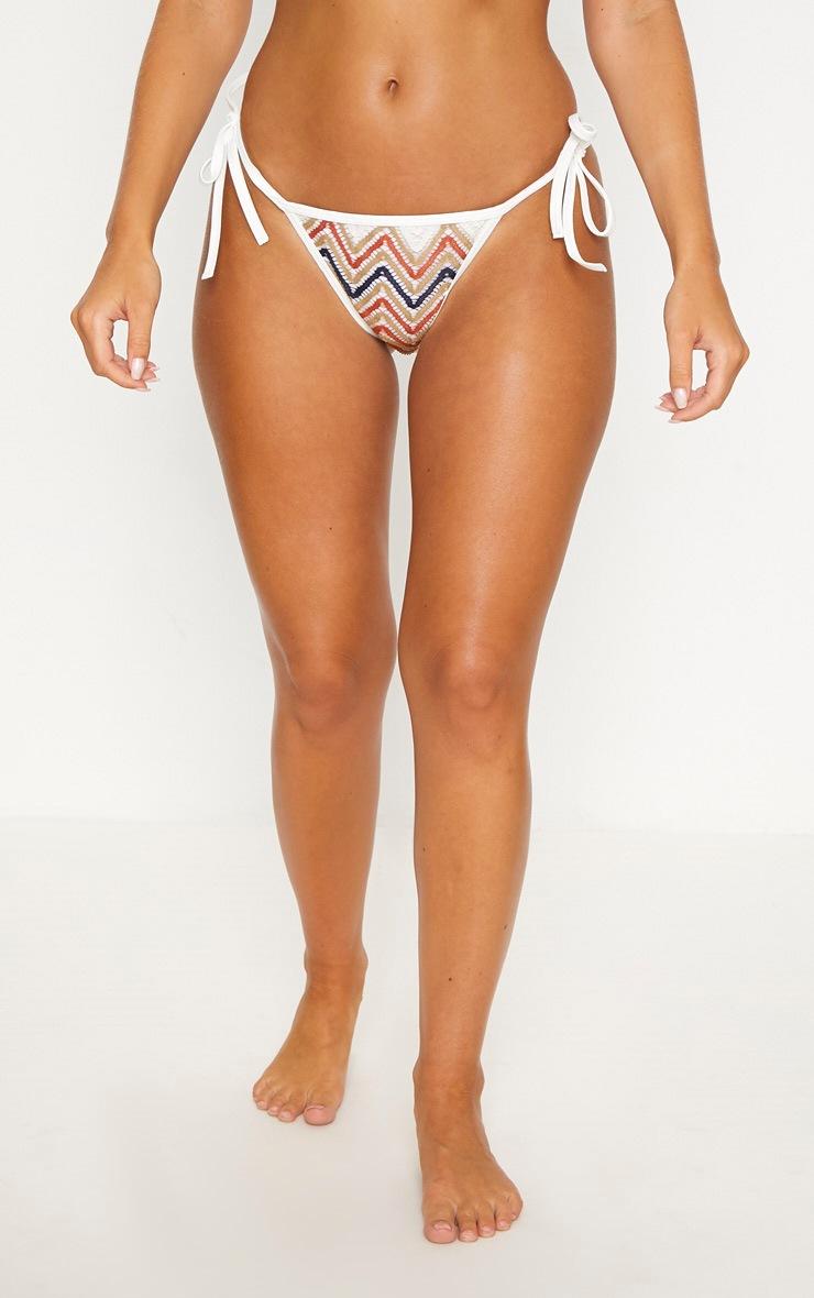 Burnt Orange Chevron Knit Tie Side Bikini Bottom 2