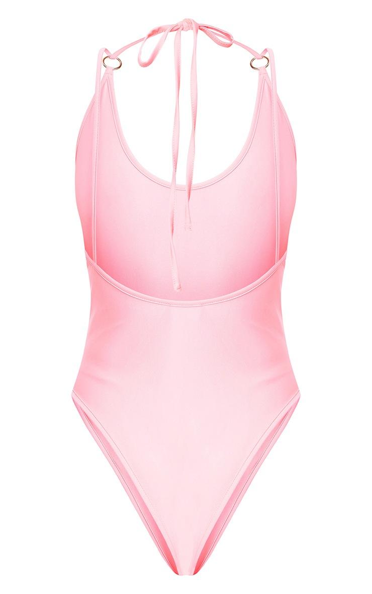 Pink O-Ring Detail Multi Strap Swimsuit  4