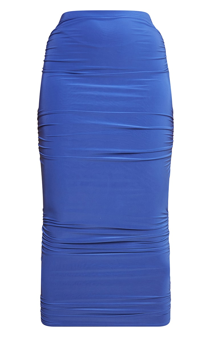 Bright Blue Slinky Cut Out Maxi Skirt 5