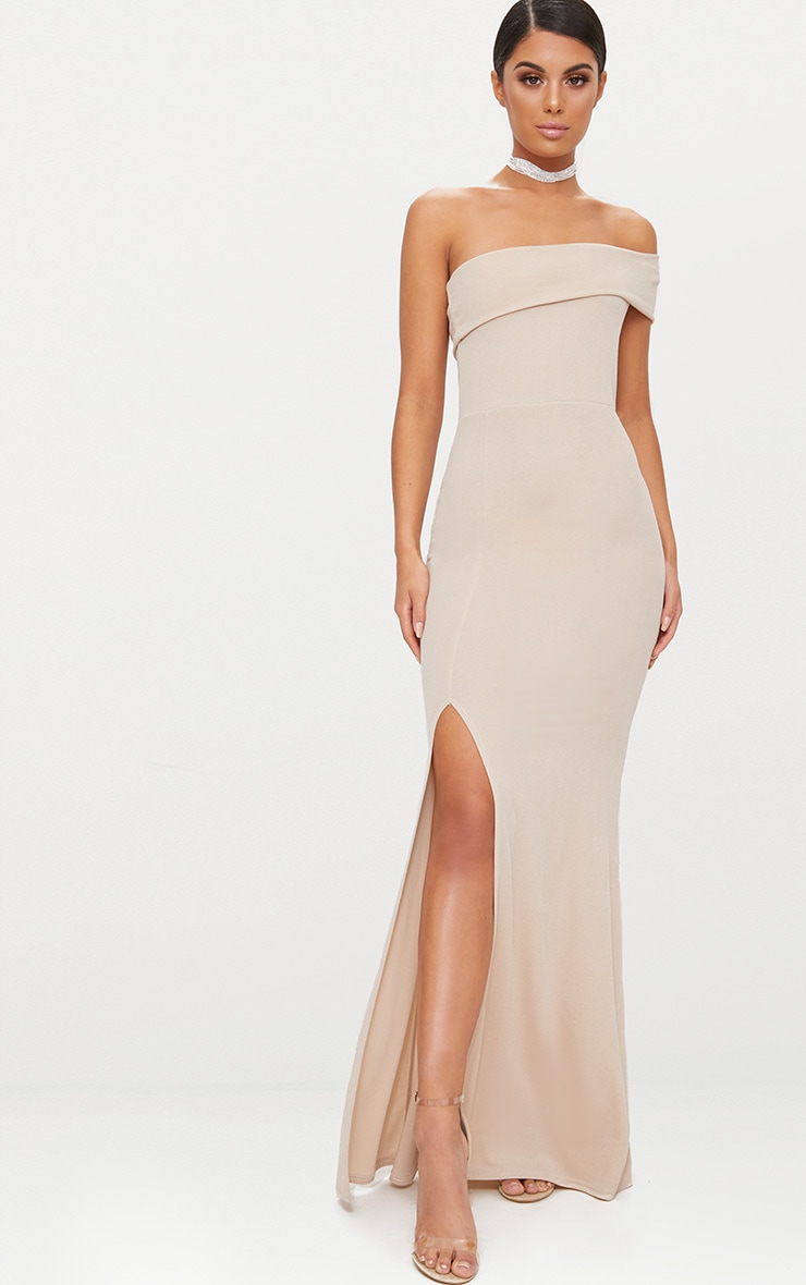 Nude One Shoulder Bardot Split Detail Maxi Dress 1
