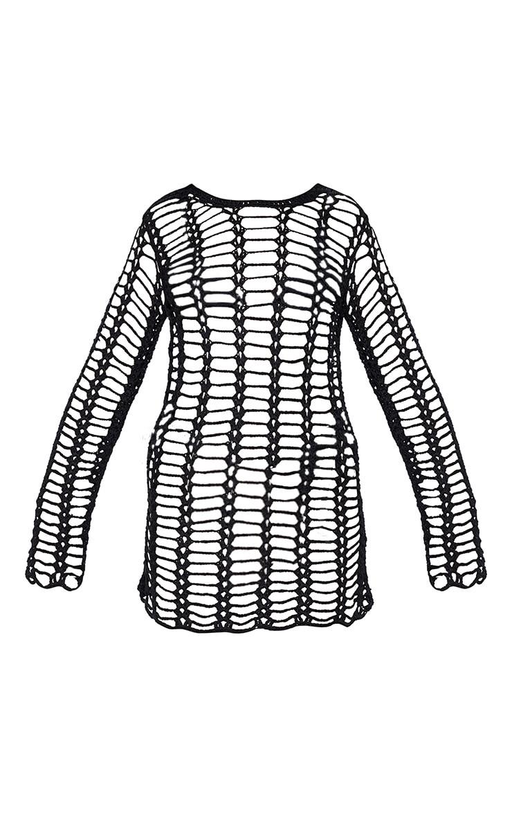 Black Crochet Ladder Detail Long Sleeve Dress  3
