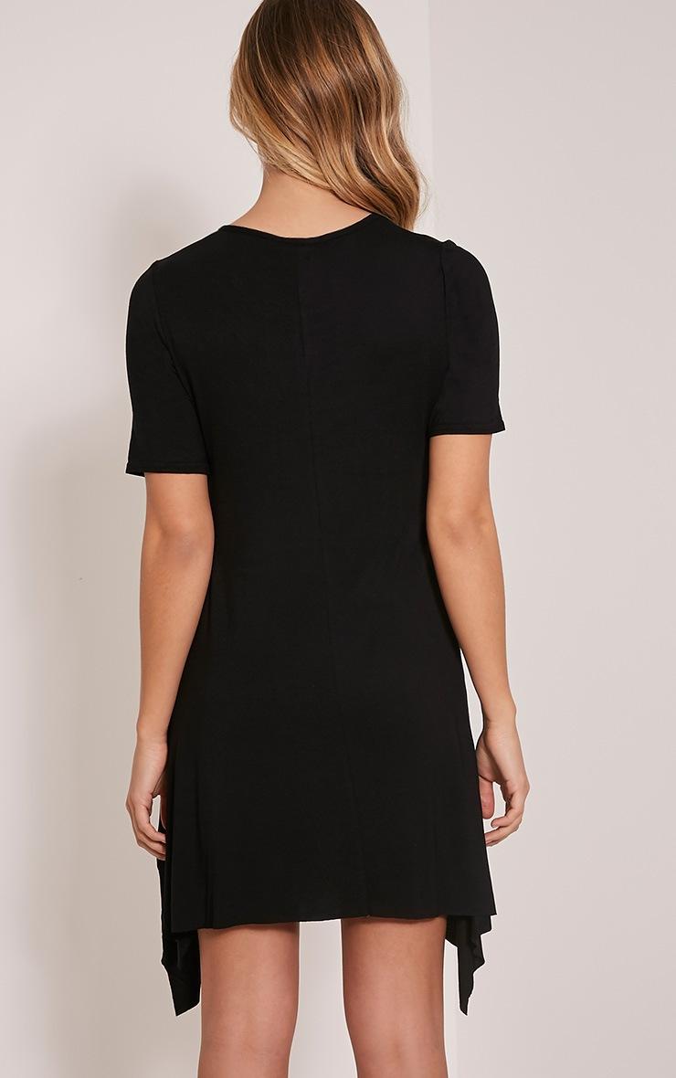 Trudi Black Raw Edge Asymmetric  Hem Dress 2