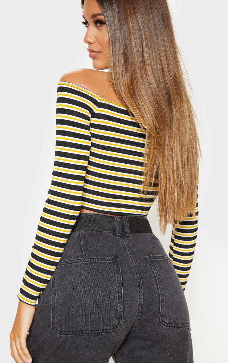 Yellow Stripe Rib Bardot Top 2
