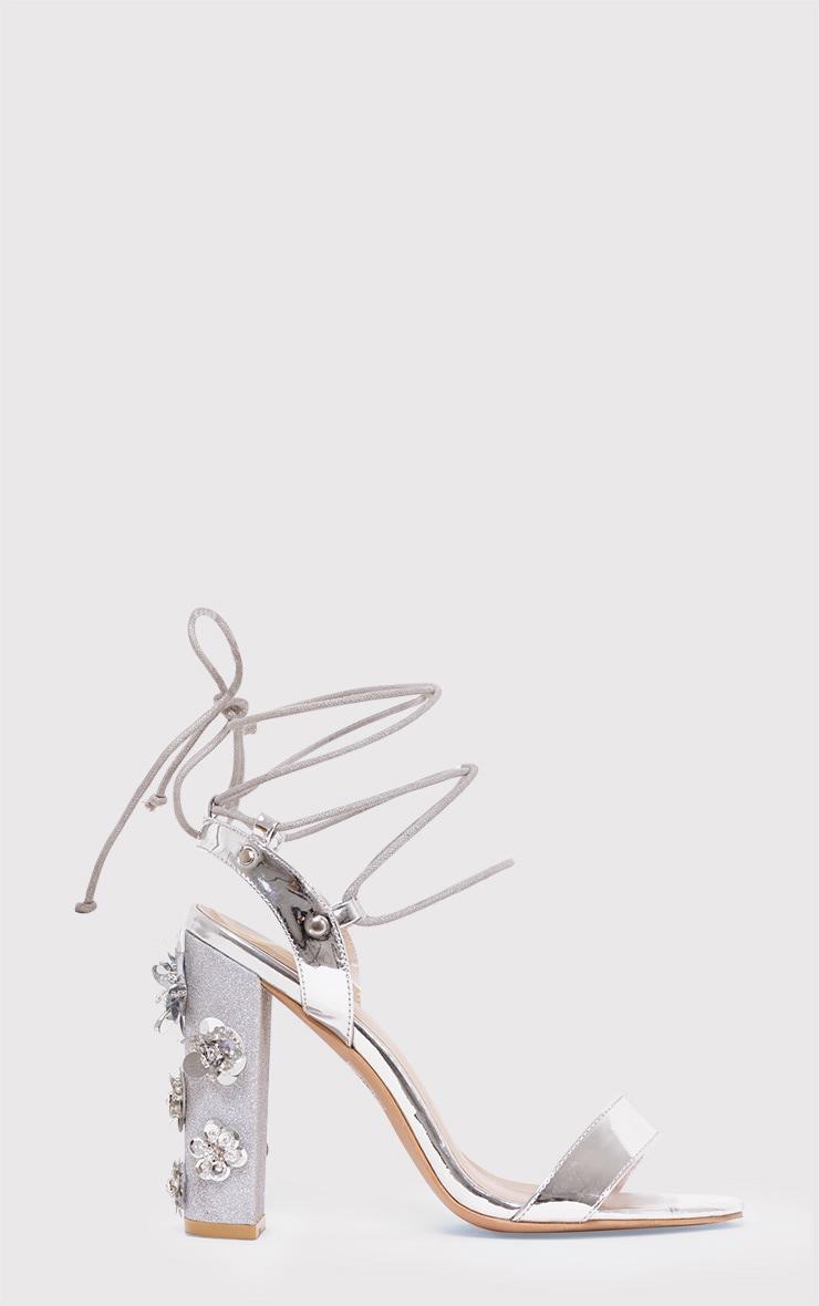 Evy Silver Embellished Block Heeled Sandals 1