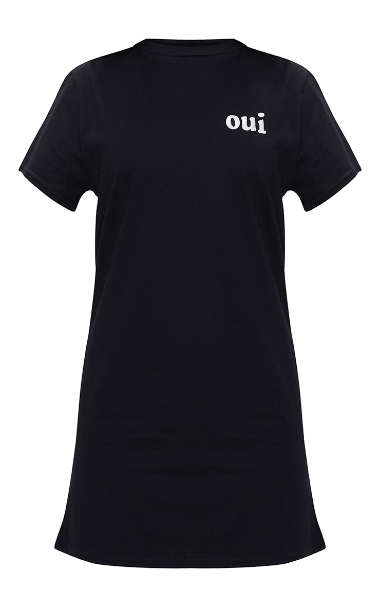 Black Embroidered Oui T-Shirt Dress (black base with white print) 3