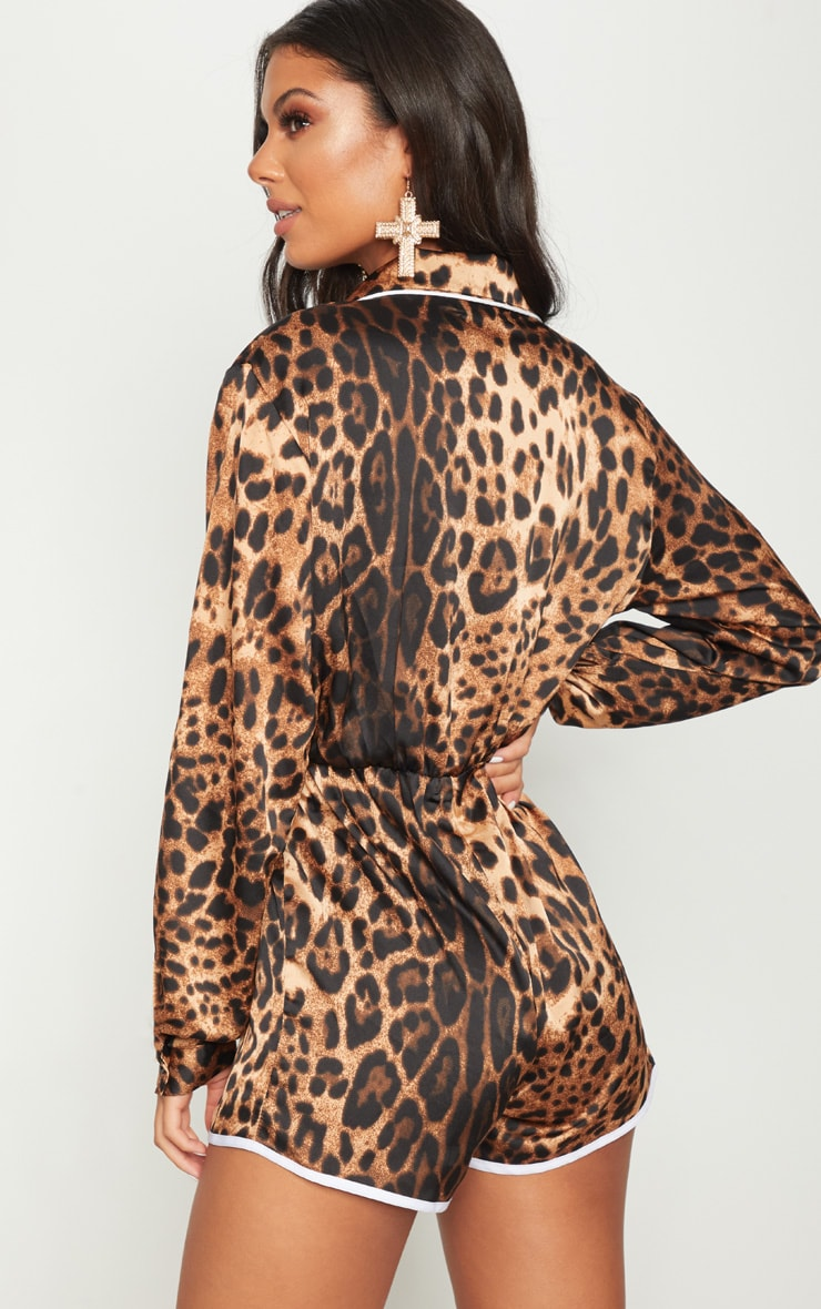Brown Leopard Contrast Playsuit 2