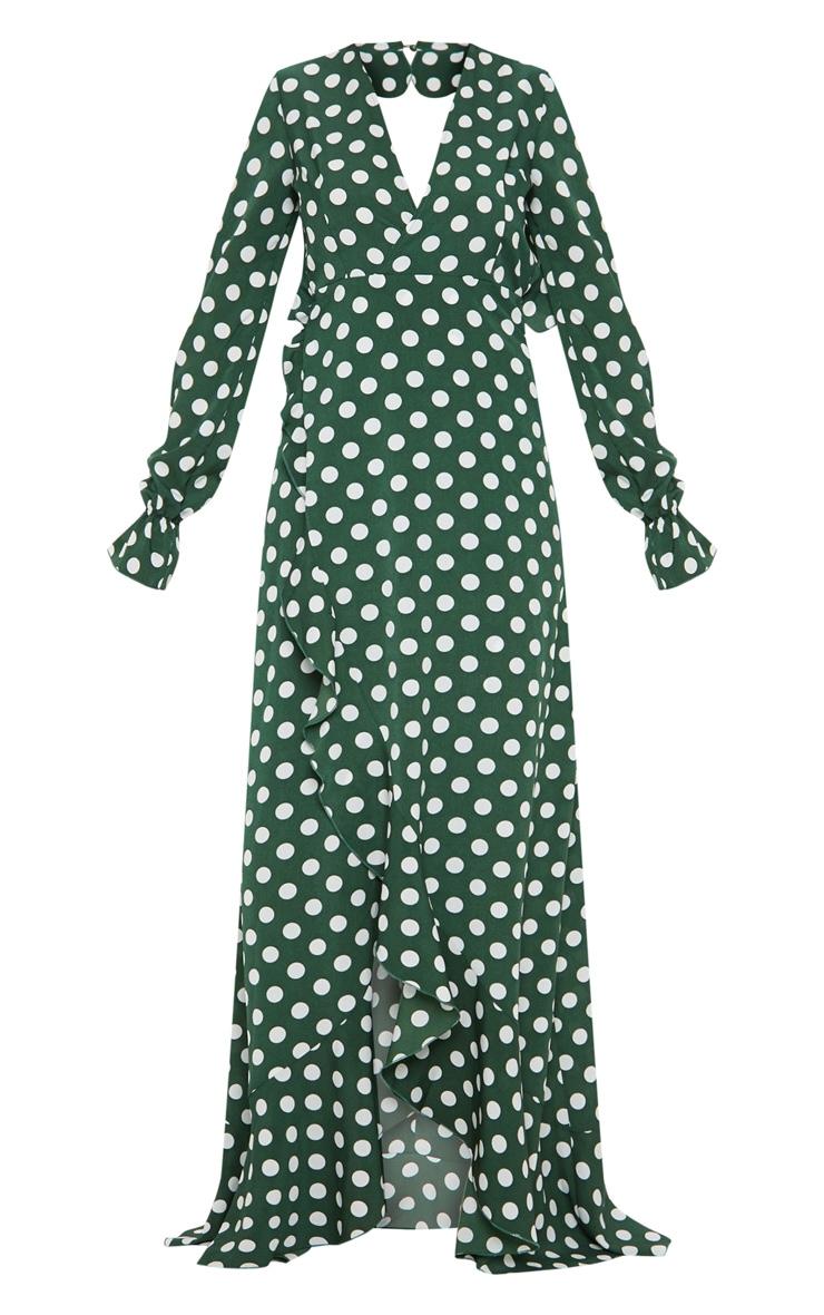 Polka Dot Frill Detail Open Back Maxi Dress 3