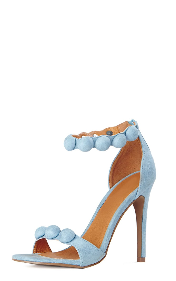 Una Powder Blue Studded Strappy Heeled Sandals 4