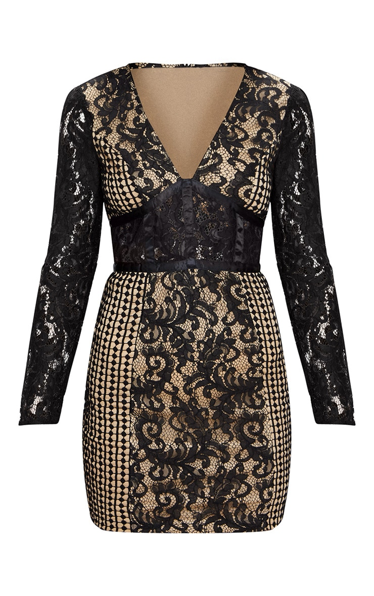 Black Lace Panel Satin Piped Plunge Bodycon Dress 3