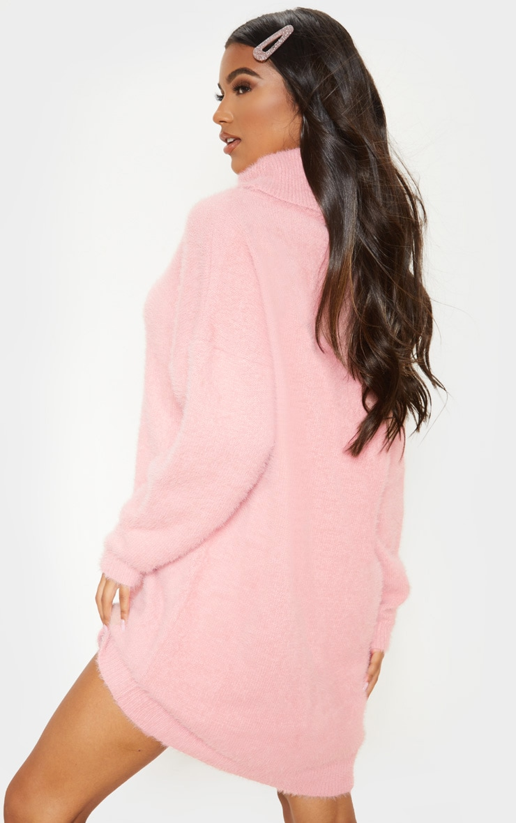 Rose Knitted High Neck Sweater Dress  2