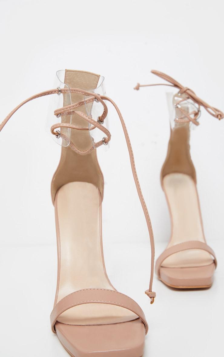 Nude Clear Cuff Square Toe High Sandal 4